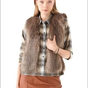 Club Monaco Brown Matilda Faux Fur Vest
